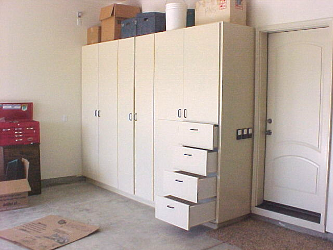 Eight Ft. Tall Garage Cabinet with Drawers.